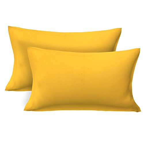 Clasiko 100% Cotton Plain Yellow Pillow Covers Pair; Size - 17X27 Inches;...