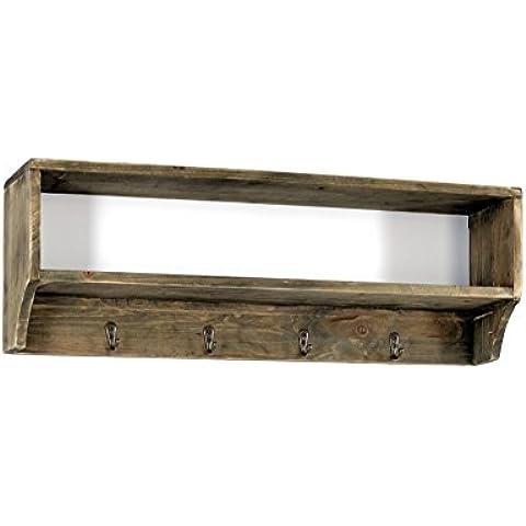 Mensola Geko da parete con 4ganci, in legno e metallo,