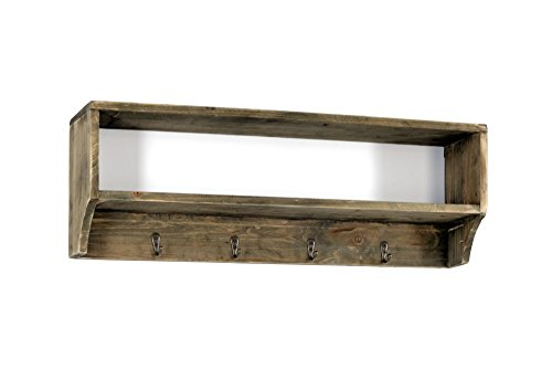 Geko Wandregal Garderobe mit 4Haken, Holz/Metall, braun, 54x 10x 18cm -