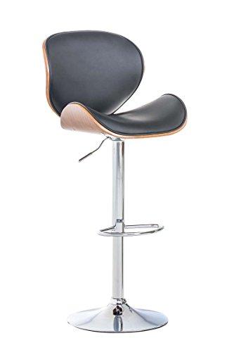 SIKALO Barhocker höhenverstellbar mit Lehne Holz Kunstleder, hoher Stuhl Bistrostuhl Küchenhocker Küchenstuhl mit Trompetenfuß inkl. Bodenschoner