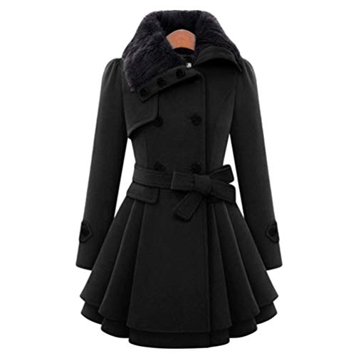 JEELINBORE Women's Vintage Trench Coat Belted Double-Breasted Winter Dress Coats Slim Long Woolen Outerwear with Faux Fur Collar (Black, CN 2XL) Breasted Belted Wool Coat