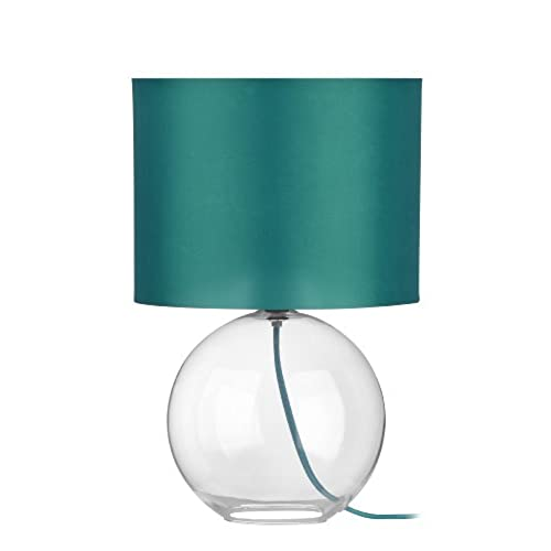 Premier Housewares Round Glass Table Lamp   Teal