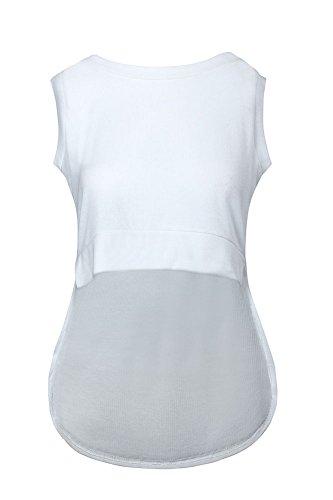 Pinkyee Damen Unregelmäßigkeiten short-front long-back ärmellos Tank Top Workout Weiß