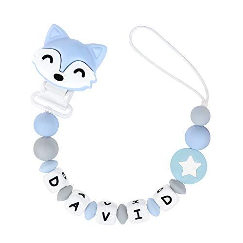 Mcgmitt catenella portaciuccio con nome ragazzo catenella ciuccio clip 10 lettere permesse silicone neonati dentizione personalizzata con perle in silicone dentizione giocattoli (blu)