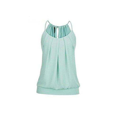 VEMOW Elegante Damen Frauen Mädchen Sommer Lose Runzeln O Neck Cami Tank Tops Weste Bluse T-Shirt Pullover T-stücke Pulli(Grün, 46 DE / 4XL CN)