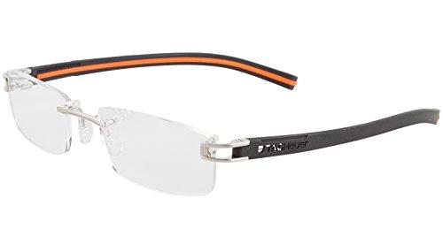 TAG Heuer Herren Brillen Track S 7643 randlos Designer Brillen, Schwarz (Pure Black/White), Einheitsgröße