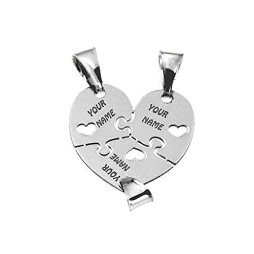 Cuore che si divide in tre ciondolini, in argento 925 rodiato, sia per collana che per bracciale. Incisioni gratuite.