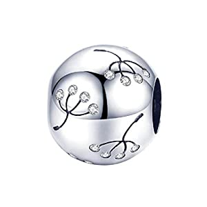 FeatherWish Charm Pusteblume Blume Sterling-Silber 925 Zirkonia für Pandora-Armband