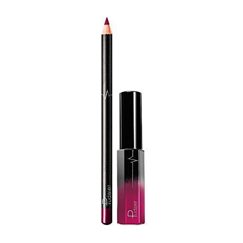 Pitashe Lippenstift Lippenstift Set 1pc Lipgloss und 1pc Lipliner Wasserdicht Lippe Gloss Long...