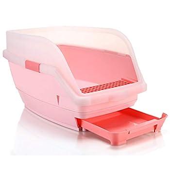 Wcx Rotin Toilette Chat,Toilette Animaux Chats Loo Jante Type De Tiroir Ouvrir 580 * 380 * 350MM (Couleur : Bleu, Taille : 580 * 380 * 350mm)