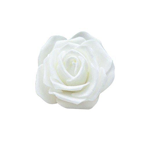 50x rosa teste di fiore artificiale schiuma sposa bouquet decorazione matrimonio partito casa - bianco
