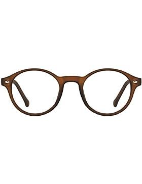 TIJN Uomo Donna Vintage Occhiali Rotondi Montatura per Occhiali da Vista Lenti Chiare