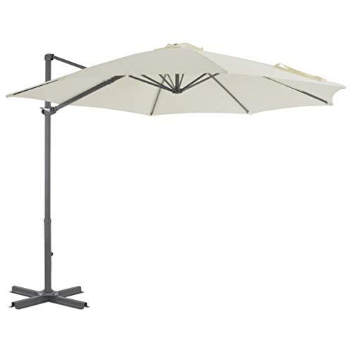 Festnight Ampelschirm mit Aluminium-Mast | Sonnenschirm | Balkonschirm | Gartenschirm | Marktschirm | Terrassenschirm Sonnenschutz | Strandschirm | Sandfarben 300 x 238 cm -