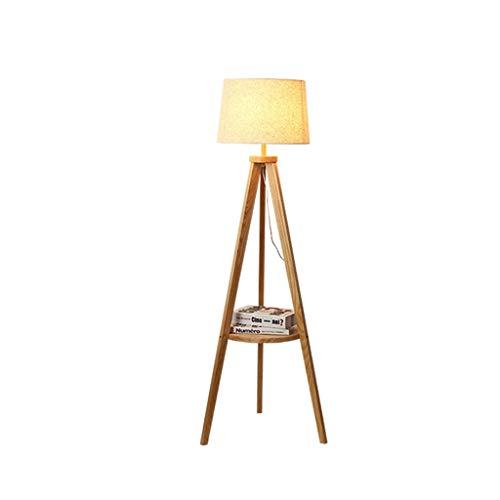QTDH Moderne Stativ Stehleuchte Mit Lagerung Holz Nordic Stehleuchte for Wohnzimmer Schlafzimmer Büro Lesen, Massivholz Baum Stehleuchte - E27 -