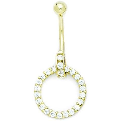 Oro Giallo 14ct CZ 14gauge pendenti cerchio gioielli per il Corpo Piercing–Misure 36x