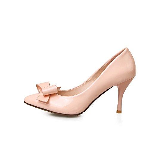 AgooLar Femme à Talon Haut Couleur Unie Tire Verni Pointu Chaussures Légeres Rose