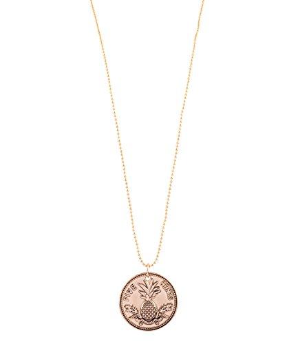 SIX Sommer Damen Halskette, lang, Münzen-Anhänger, Ananas, gold (758-372)