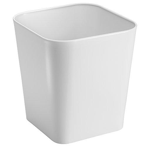 mDesign Mülleimer Bad - eckiger Design Papierkorb bzw. Abfalleimer für Bad, Küche oder Büro aus Stahl - zeitloses Design & beständiges Material - weiß
