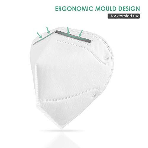 N95 Mask, SelfieGo Mascaras, FFP2 Máscara, FFP2 filtrando 95% partículas, máscaras antipolvo transpirable KN95, mascarillas con elásticos para las orejas, certificación CE(5PCS)