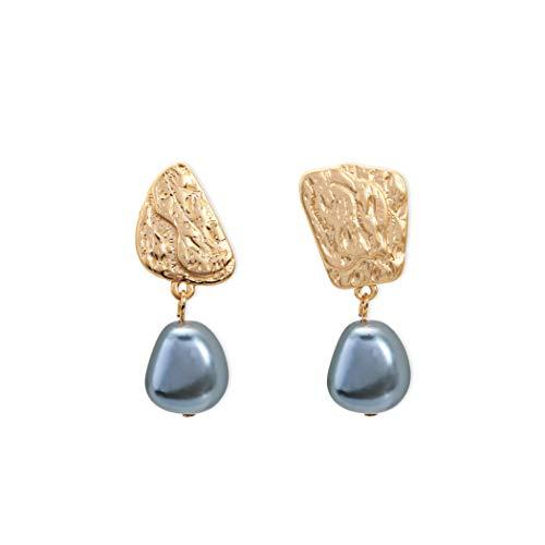 WY-SPEH Sommer Metall einfache graue Perle Ohrringe Ohrringe asymmetrische Ohrringe,Metallic (Gold Ohrringe Perle Graue)