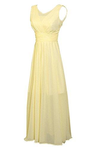 Promgirl House Damen Elegant Chiffon A-Linie Brautjungfernkleider Lang Ballkleider Abendkleider Gelb