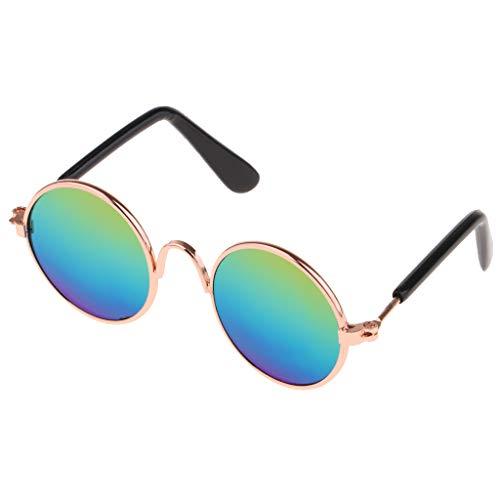 FLAMEER 1 Paar Mode Puppen Brille Sonnenbrille mit runde Metall Rahmen für 1/6 BJD Mädchen Puppen - Golden B