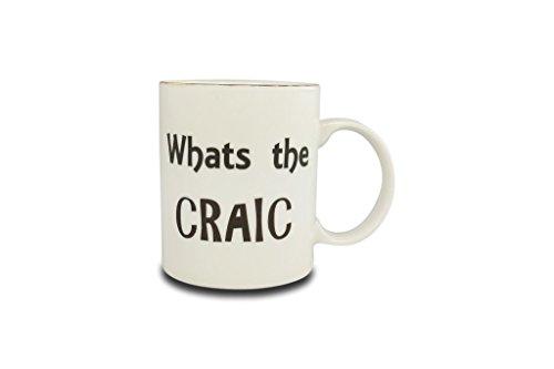 Irish Spruch Range Becher von Shannonbridge Keramik What's the Craic weiß -