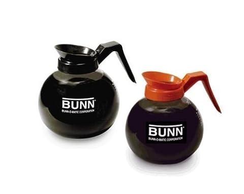 BUNN Coffee Pot Decanter / Carafe - Set of 2 - 1 Black Regular + 1 Orange Decaf - 12 Cup Capacity by (Bunn Decanter)