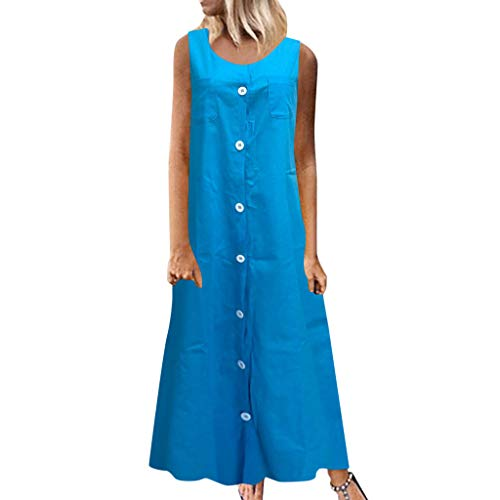BCFUDA Frauen Sommer Maxi Kleid Ärmellos Baumwolle und Leinen Freizeitkleidung Einfarbig Knopf Langes Kleid Bequem Lose Atmungsaktiv Strandkleid - Meerjungfrau Eine Schulter Sweep