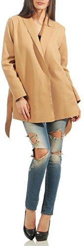 Malito Long Manteau Cascade-Design Cardigan Veste 3050 Femme One Size  (Camel 3051) 2cb40163521