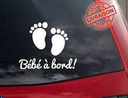 """Sticker autocollant vinyle """"bébé à bord"""" petits pieds de bébé 20cmx15cm"""