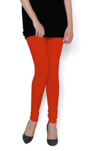 The Gud Look 95% Cotton 5% Spandex Stretch Legging - Orange 30  available at amazon for Rs.299
