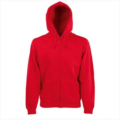 Fruit of the Loom - Kapuzen Sweat-Jacke 'Hooded Zip' M,Red (Rote Kapuzen-jacke)
