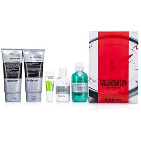 Logistics For Men The Essential Traveler Kit: Cleanser + Mositurizer + Lip Blam + Shave Cream + Hair & Body Wash 5pcs