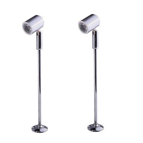 Midore 2 x Steckbare Vitrinenleuchte Mini Spot Scheinwerfer Beleuchtung LED Spotlight Lampen 21cm Warmweiß LED On Top mit Dreh und Schwenkbaren Spot Stehleuchte Accademia für Displaybeleuchtung