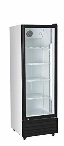 Umluft-Gewerbekühlschrank, Schaukühlschrank 360 Liter mit Glastür, Türrahmen schwarz und Frontgitter