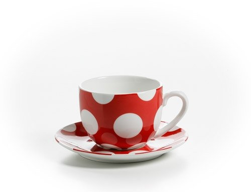 Maxwell & Williams Polka Dot Tasse mit Untere, Untertasse, Kaffeetasse, Becher, Porzellan, mit Punkten, Rot, 250 ml, PD3003 (Dot Polka Geschirr)