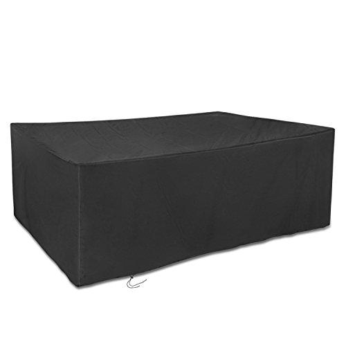 Dokon Abdeckung für Gartenmöbel 420D Oxford-Gewebe Große Gartenmöbel Schutzhülle, Rechteckig (270x180x89cm) - Schwarz