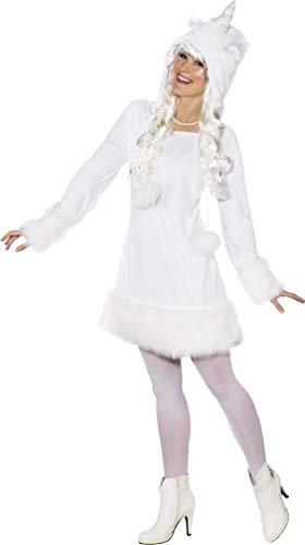 Fancy Me Damen Winterkostüm, Einhorn-Tier-Motiv, weihnachtliches Weihnachten, festliches Kostüm, Outfit, Größe 38/40, ()