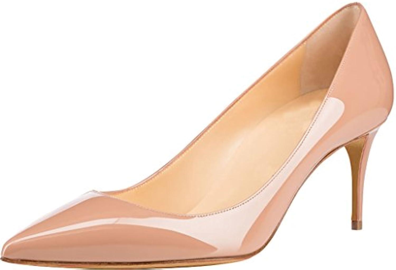 Calaier Mujer CAAS Tacón De Aguja 7CM Sintético Ponerse Zapatos de Tacón
