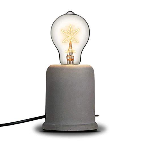 Injuicy Rétro Edison Vintage Industriel Socle en Bois Métal Lampes de Table Antique Fer Forgé Conduite D'eau Steampunk Lampe de Bureau Lampe à Poser pour Chevet Café Salon Chambre Lampe(#B) (Ciment)