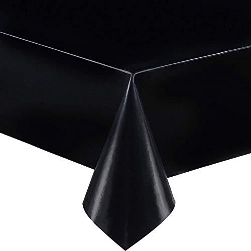 DecoHomeTextil Lacktischdecke Wachstuch Wachstischdecke Tischdecke Gartentischdecke Schwarz Breite & Länge wählbar 140 x 200 cm Eckig abwaschbar Lebensmittelecht