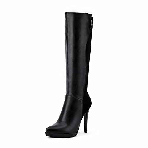 KingRover Women's Knee High Frosted Boots With Thin High Heel Sexy Women PU Leather Boots For Fashion Girls (Knee Black Pu High Boots)