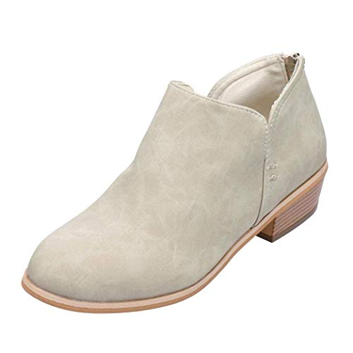 Women Ladies Autumn Shoes Fashion Ankle Solid Leather Martin Shoes Short Boots Beige 5.5 UK -