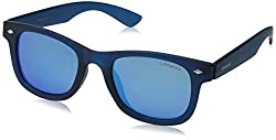 Polaroid Sunglasses PLD8009N Polarized Wayfarer Sunglasses, Blue Transparent/Gray Blue Mirror Polarized, 45 mm