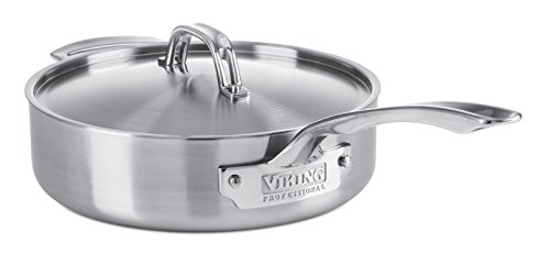 Viking Professional 5-Ply Saute Pan with Satin Finish, 3.4-Quart, Silver by Viking