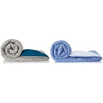 Amazon Brand - Solimo Microfibre Reversible Comforter, Single (Stone Blue & Silver Grey, 200GSM) + Microfibre Reversible Comforter, Single (Ash Grey & Deep Teal, 200 GSM) Combo