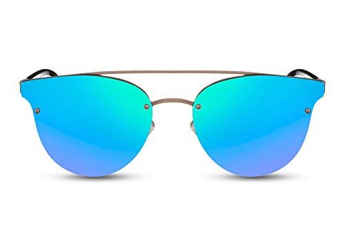 Cheapass Sonnenbrillen Rund Schwarz Grün-Blau Verspiegelt UV-400 Designer-Brille Nerd Geek Smart-Look Damen Herren