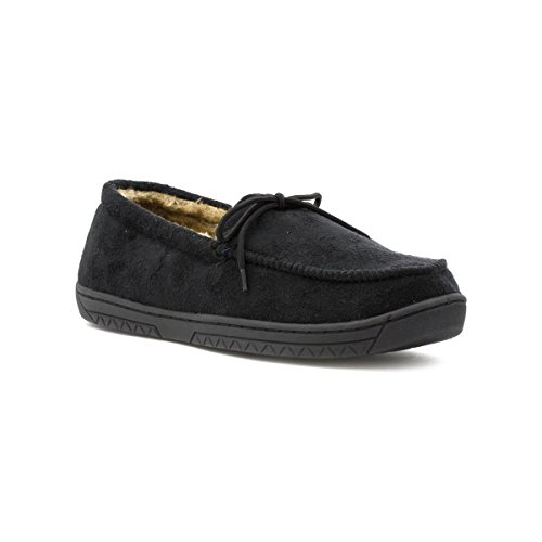 The Slipper Company Mens Black Faux Suede Moccasin Slipper - Size 9 UK - Black