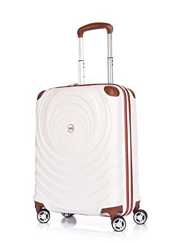 Verage Spiral ABS Hartschale Trolley S-19 Zoll-54L (55x38x20 cm) Händgepack in Beige, 4x360 Grad Doppelrolle Reisekoffer, TSA integriert...